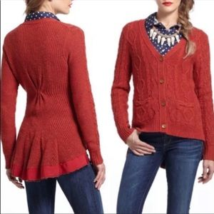 Anthropologie far away from close red cardigan